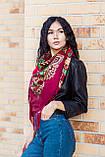 Платок женский красивый шерстяной на плечи народный с орнаментом бордового цвета, фото 6
