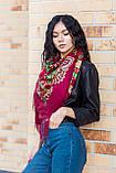Платок женский красивый шерстяной на плечи народный с орнаментом бордового цвета, фото 2
