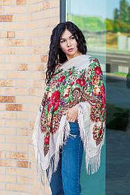 Красивый женский платок на плечи и на голову с цветами и бахромой LEONORA бежевого цвета