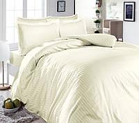 Комплект постельного белья Наша Швейка Бязь Однотон бежевый в полоску Евро 200х220 см
