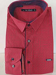 Мужская рубашка приталенная с длинным рукавом вишневая Bazzolo