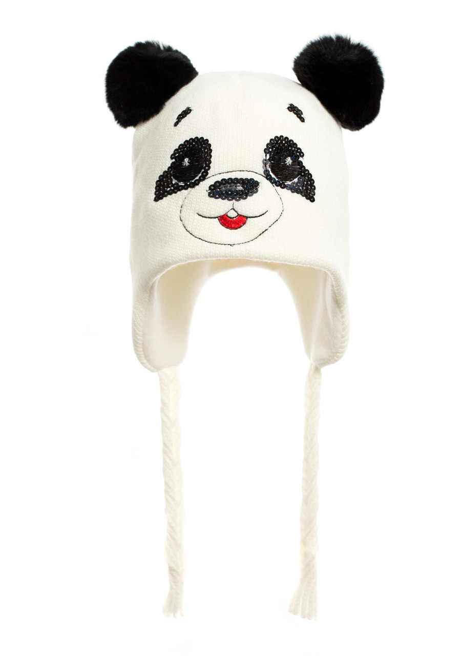 Наборчик Панда - шапочка на флисе с ушками из натурального кролика и шарфик