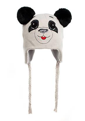 Наборчик Панда - шапочка на флисе с ушками из натурального кролика и шарфик, фото 2