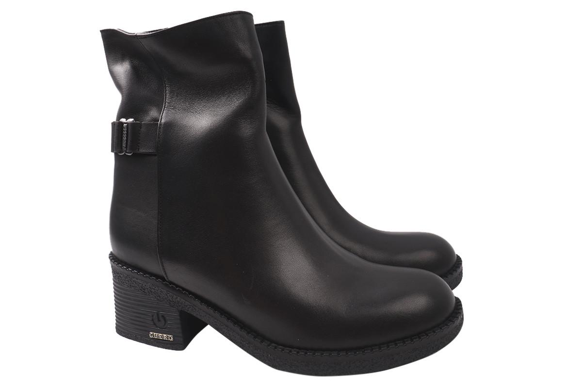 Ботинки женские зимние на низком каблуке из натуральной кожи, черные Guero Турция
