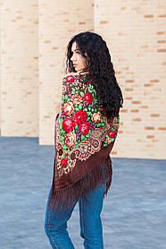 Платок женский красивый большой на плечи с народным орнаментом LEONORA коричневый