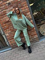 Женский прогулочный костюм - двойка укороченные брюки и свитшот с капюшоном (р. 42-54) 18KO1411, фото 1