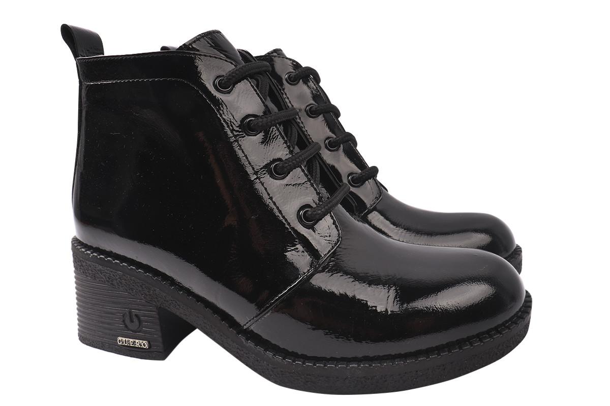 Ботинки женские зимние на низком каблуке из натуральной лаковой кожи, черные Guero Турция