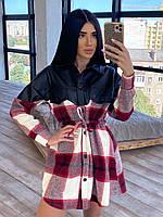Твидовое платье рубашка в клетку с вставкой из черной экокожи (р. 42-46) 66PL1620Q, фото 1