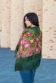 Женский красивый большой платок на голову и плечи с бахромой LEONORA зелёного цвета