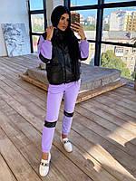 Женский спортивный костюм двойка - теплый комбинезон и черный кожаный жилет (р. 42-46) 66SP1096Q