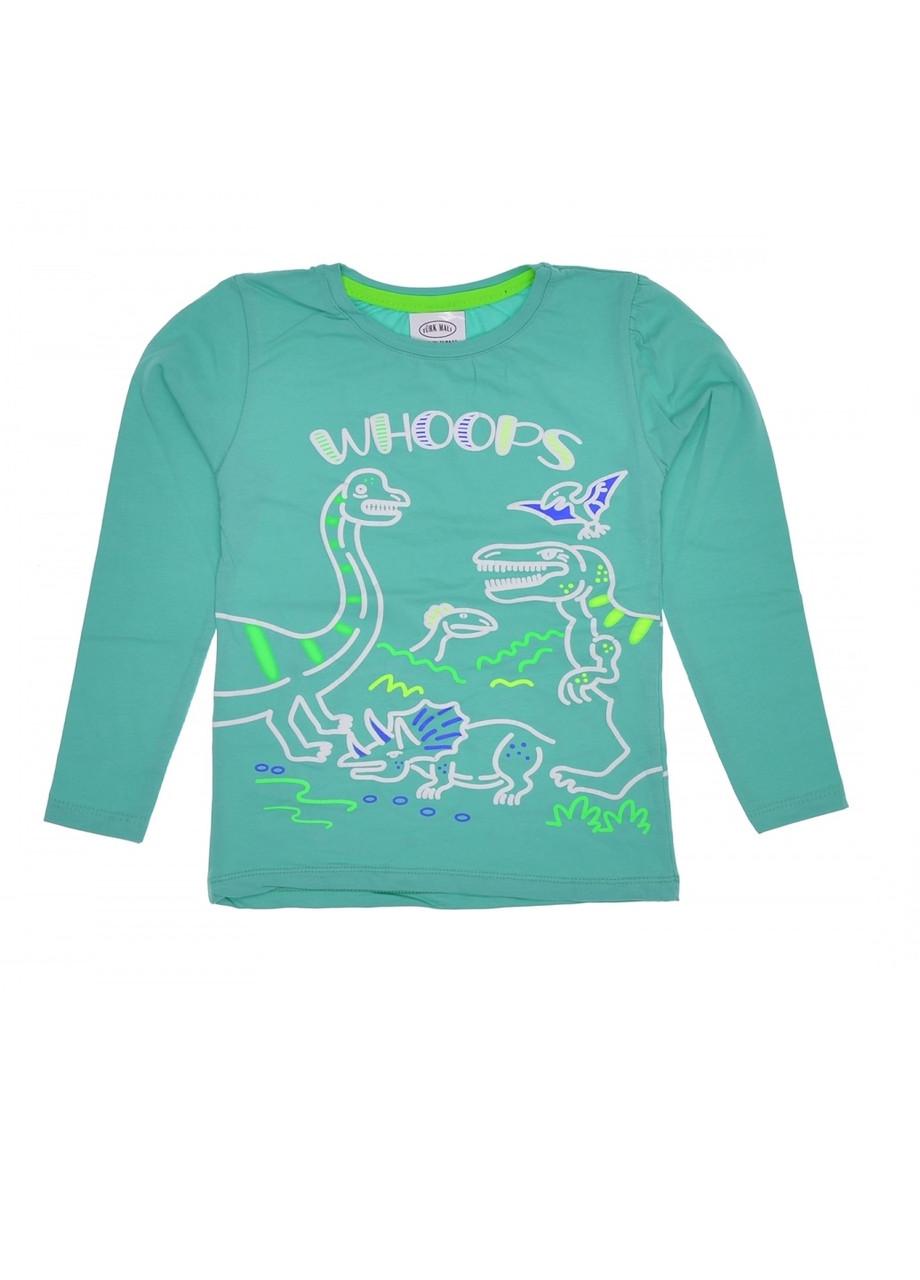 Реглан мальчику Динозавры бирюзовый 8 лет