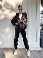 Велюровый спортивный костюм - штаны и толстовка с капюшоном (р.42-46) 83SP1100, фото 1