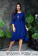 Асимметричное платье с рукавом 3/4, сьемным поясом и воланом в больших размерах 1BR793, фото 1