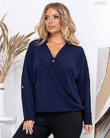 Женская шифоновая свободная блуза в больших размерах с V-вырезом 83BR803, фото 1