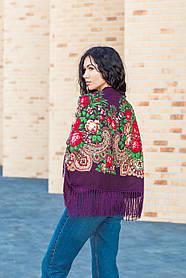 Платок женский красивый народный с орнаментом и узорами LEONORA с бахромой фиолетовый