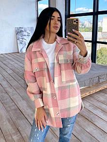 Женская теплая удлиненная рубашка в клетку с карманами на груди из твида в едином размере 42-46 66ru417Q