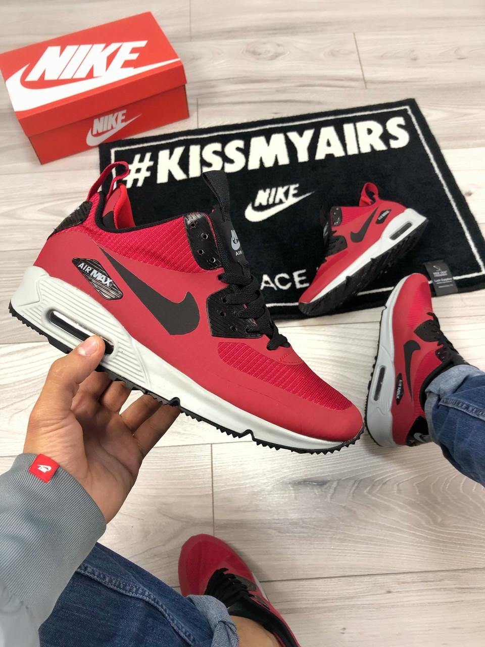 Мужские зимние кроссовки Nike Air Max 90 red, кроссовки зимние Найк Аир Макс 90 (Реплика ААА)