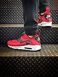 Мужские зимние кроссовки Nike Air Max 90 red, кроссовки зимние Найк Аир Макс 90 (Реплика ААА), фото 2