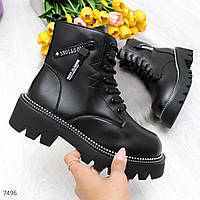 Женские зимние ботинки на тракторной подошве в черном и белом цвете OB7497, фото 1