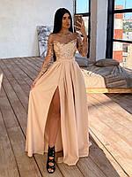 Длинное вечернее платье в пол с верхом из сетки с пайетками и расклешенной юбкой с разрезом р. 42-44 66py1623Е