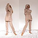Теплый спортивный костюм из трехнитки штаны и удлиненное худи с капюшоном 56so1098, фото 2
