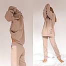 Теплый спортивный костюм из трехнитки штаны и удлиненное худи с капюшоном 56so1098, фото 3