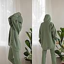 Теплый спортивный костюм из трехнитки штаны и удлиненное худи с капюшоном 56so1098, фото 4