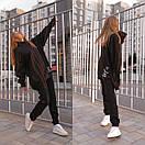 Теплый спортивный костюм из трехнитки штаны и удлиненное худи с капюшоном 56so1098, фото 8
