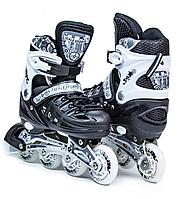 Ролики раздвижные Scale Sport Black LF 905, черно-белые размер 29-33 34-37 для мальчика и девочки