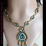 Комплект колье, тика, серьги в индийском стиле под золото с голубыми камнями, фото 6