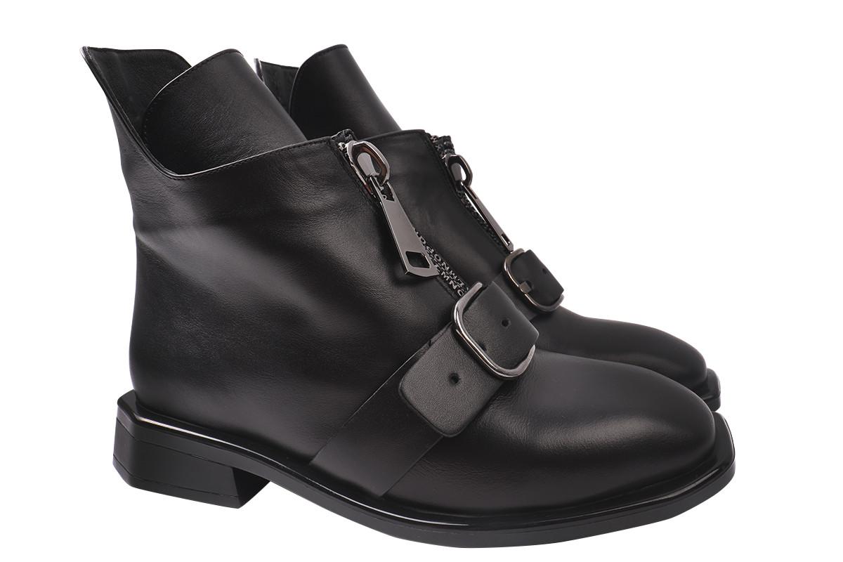 Ботинки женские зимние на низком каблуке из натуральной кожи, черные Molly Bessa Турция