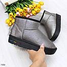 Короткие женские кожаные угги с напылением в цвете серебро OB7484, фото 8