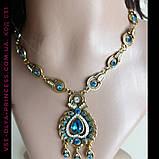 Комплект колье, тика, серьги в индийском стиле под золото с голубыми камнями, фото 7