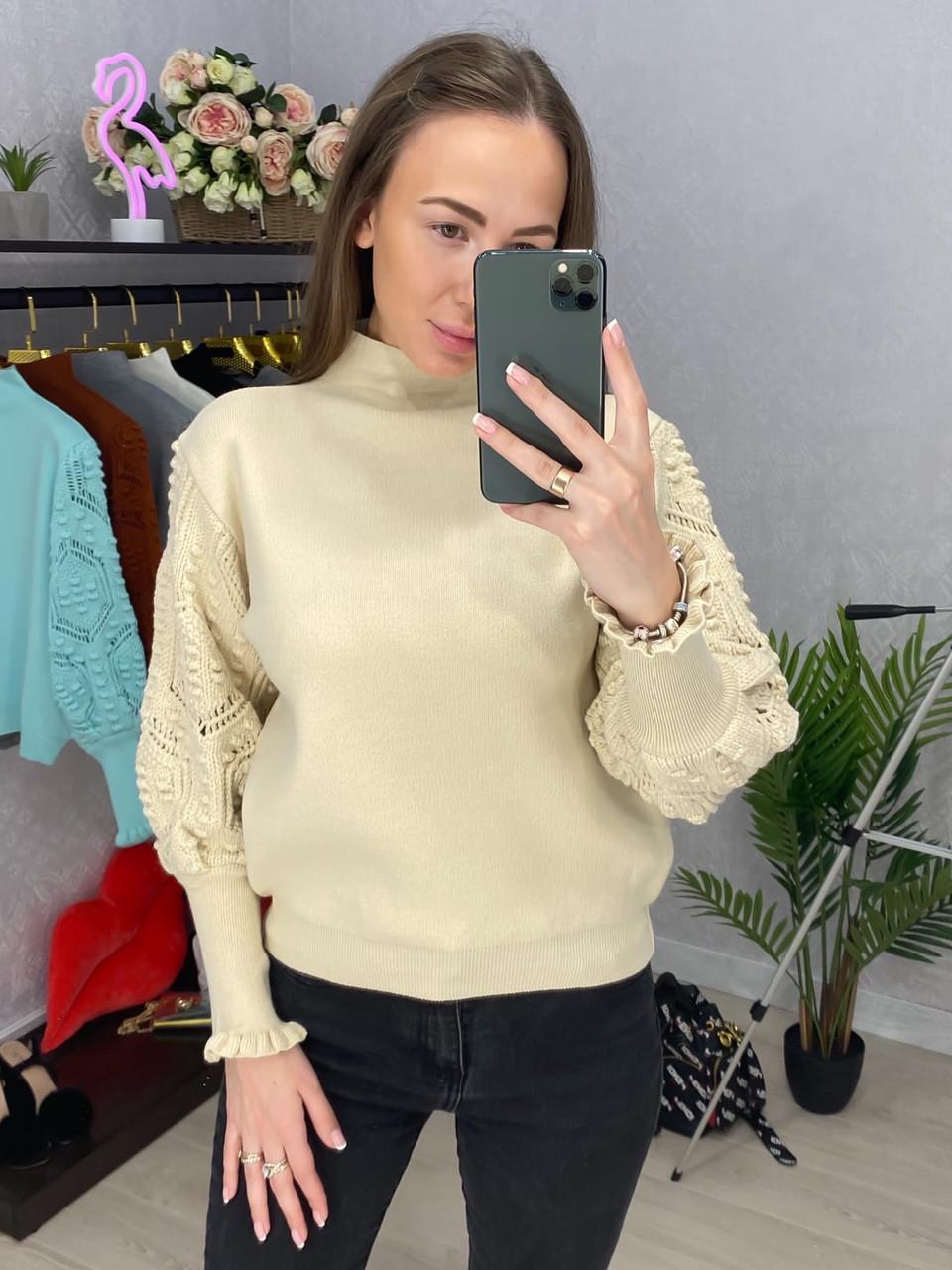 Женский вязаный свитер с рукавами фонариками (р. 42-46) 33dm915