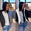 Жіноча двостороння світловідбиваюча коротка куртка на зиму з коміром стійкою (р. 42-46) 66ki463Q, фото 2