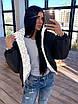 Жіноча двостороння світловідбиваюча коротка куртка на зиму з коміром стійкою (р. 42-46) 66ki463Q, фото 3