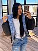 Жіноча двостороння світловідбиваюча коротка куртка на зиму з коміром стійкою (р. 42-46) 66ki463Q, фото 8