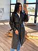 Женский кожаный тренч на замше, на запах, под пояс, в расцветках (р. 42-46) 66lt291Q, фото 3