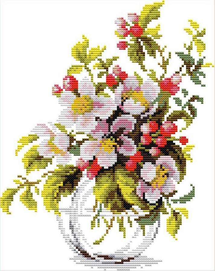 Набор для вышивания крестом 23х30 Яблоневый цвет Joy Sunday H855