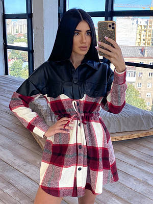 Твидовое платье рубашка в клетку с вставкой из черной экокожи (р. 42-46) 66ty1620Q