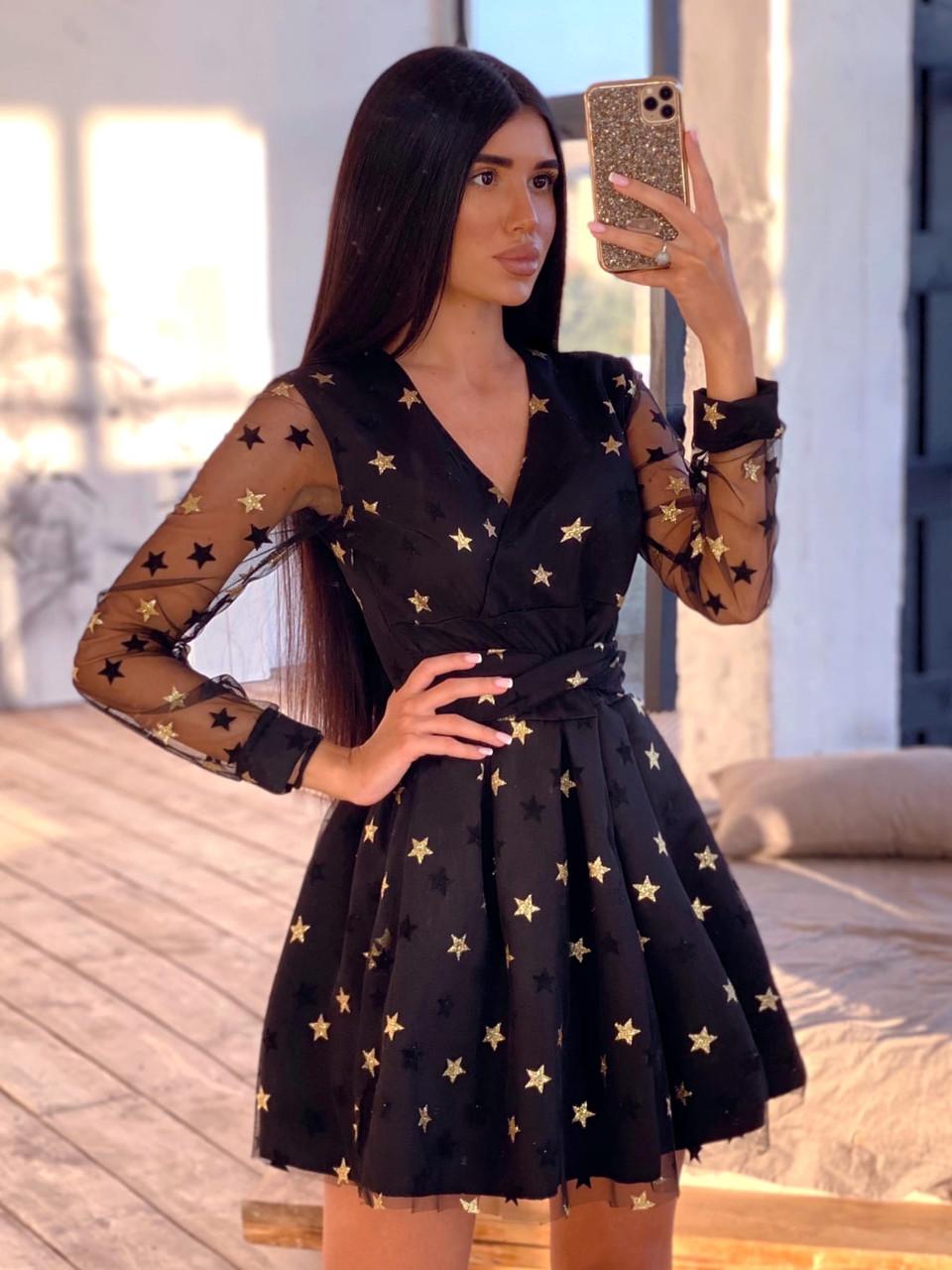 Черное короткое платье из сетки со звездами с пышной юбкой 66ty1621Е