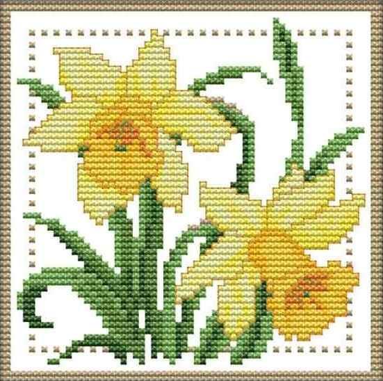 Набор для вышивания крестом 17х17 Нежный цветок (3) Joy Sunday H425