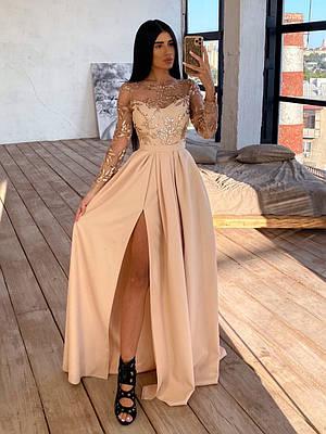 Платье в пол с расклешенной юбкой с разрезом MNC бежевый 66ty1623Е