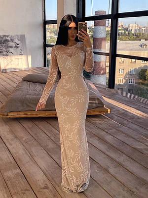 Длинное вечернее платье из сетки с узорами из пайеток, по фигуре, с длинным рукавом 66ty1624Е