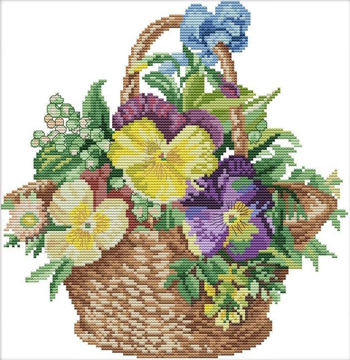 Набор для вышивания крестом 40х41 Цветочная корзинка Joy Sunday H504