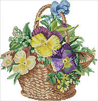 Набор для вышивания крестом 40х41 Цветочная корзинка Joy Sunday H504, фото 1