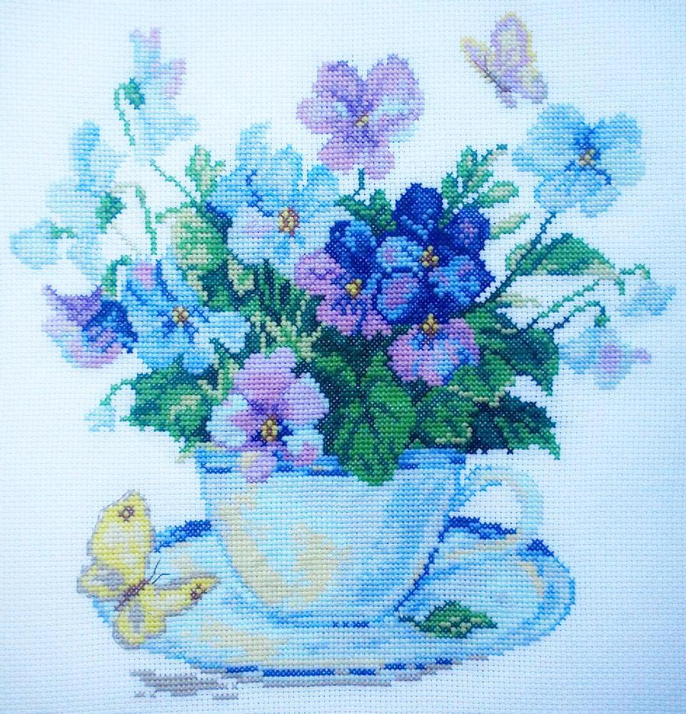 Набір для вишивання хрестом 39х39 Ранкові квіти Joy Sunday H403