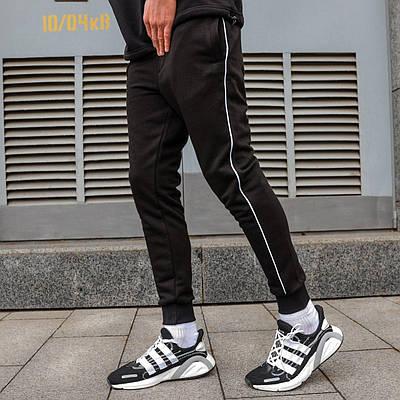 Черные спортивные зауженые штаны брендовые на манжете