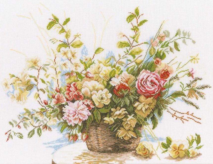 Набор для вышивания крестом 61х50 Корзина с цветами Joy Sunday H630