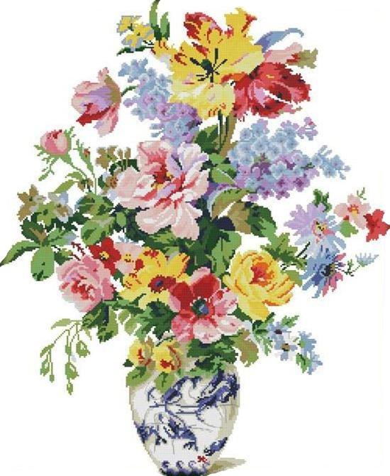 Набір для вишивання хрестом 68х81 Квітучі квіти Joy Sunday H397